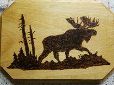 Moose Silhouette Wood Burn
