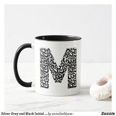 Silver Grey and Black Initial M Monogram Mug M Monogram, Monogram Gifts, Holiday Cards, Christmas Cards, Initial M, Christmas Card Holders, Hand Sanitizer, Keep It Cleaner, Photo Mugs