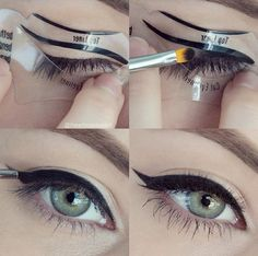 The easiest way to make a cat-eye, using an eyeliner stencil