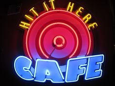 Hit It Here Cafe neon sign at Safeco Field, home of Seattle Mariners, pic taken by Sher