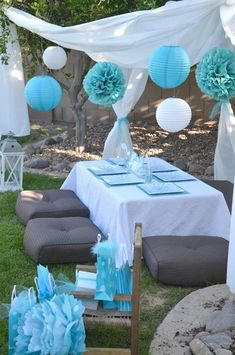 "Grey and Turquoise ""Make a Wish"" party"