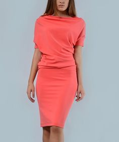Another great find on #zulily! Coral Drape Sheath Dress - Plus Too #zulilyfinds