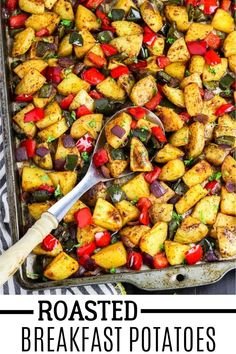 Have a calm and hassle-free morning with this amazing Roasted Breakfast Potatoes! All you need to do is prepare the ingredients in a pan, pop it in your oven and wait for 30 minutes or less! #veganhuggs #breakfastmeal #roastedveggies Vegan Recipes Beginner, Healthy Recipes On A Budget, Vegetarian Recipes Dinner, Budget Meals, Healthy Meals, Christmas Recipes Dinner Main Courses, Thanksgiving Recipes, Breakfast Recipes, Vegan Breakfast