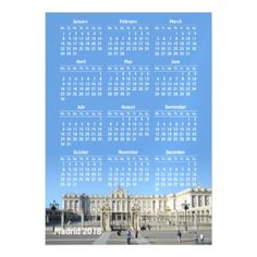 Madrid Spain 2018 calendar magnetic card - invitations custom unique diy personalize occasions