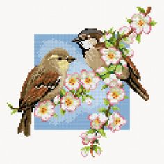 Birds and apple blossom preview - free cross stitch pattern pinned separately
