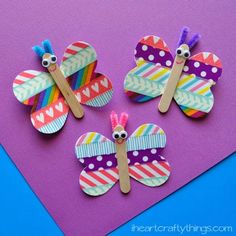 Spring is here and kids will love making this adorable Butterfly Washi Tape Craft. These also make cute magnets!