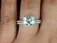 Rosados Box Brandi 7.5mm 14kt White Gold Cushion F1- Moissanite and Diamonds Halo Wedding Set (Other options available) by RosadosBox on Etsy https://www.etsy.com/listing/124236797/rosados-box-brandi-75mm-14kt-white-gold