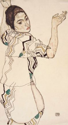 Egon Schiele, 1914, Friederike Beer mit erhobenen Händen, Watercolor and pencil on paper. © Sammlung E. W. K., Bern/Lauri