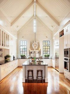 Vaulted White Kitchen Ceiling With Track Lighting