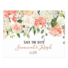Peach Watercolor Flowers Postcard - event gifts diy cyo events