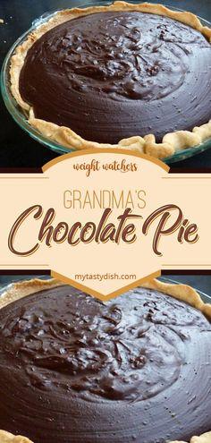 Grandmas Chocolate Pie weight watchers friendly #weightwatchers #weight_watchers #grandma #chocolate #pie