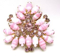 Vintage Rhinestone Juliana Brooch With Art Glass Marquise Navettes.