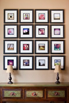 Here's an awesome photo frame wall collage display by photographer Kevin Hail. Print your instagram photo's and insert into square photo frames. Just brilliant! We LOVE it