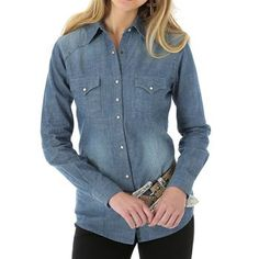 Wrangler Women's Chambray Denim Long Sleeve Western Shirt