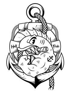 My personal touch on Abe Simpson's famous tattoo of the Hell Fish, smells like t-shirt! Simpsons Tattoo, Tatuagem New School, Famous Tattoos, Traditional Tattoo, Cartoon Art, Body Art Tattoos, Blackwork, Cool Art, Stencils