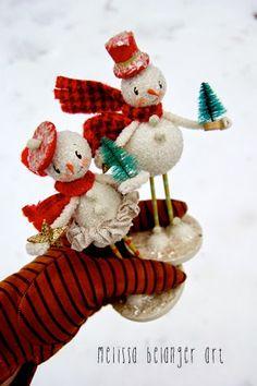 Cheerful glass glitter snow couple by Melissa Belanger.