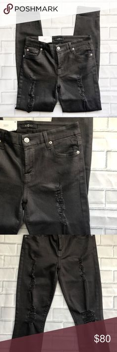 b3eba09ed4 NWT 7FAM Short Inseam Skinny Coated Ankle Jeans Great for a night out!  These jeans