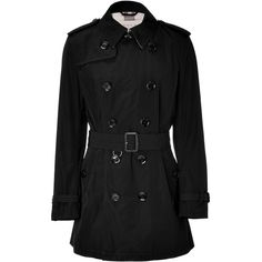 BURBERRY BRIT Black Short Trench Coat ❤ liked on Polyvore