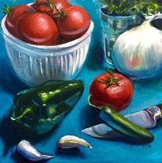 "Daily Paintworks - ""Spicy Salsa"" - Original Fine Art for Sale - © Rachel Fogle"