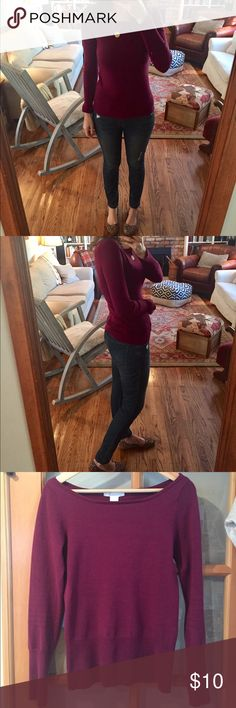 Charlotte Russe boatneck sweater Beautiful gemstone cranberry color. Boatneck. Hits at hip. Excellent quality. Fitted. A small-fitting medium. Charlotte Russe Sweaters