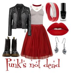 """""""Punk's not dead"""" by kacenka-1 on Polyvore featuring BasicGrey, Boohoo, Charlotte Russe, Swarovski, Dr. Martens, Inglot, Lime Crime and Black Pearl"""