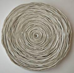 ceramic sculpture by Valeria Nascimento use the idea of rolling coloured magazi. ceramic sculpture by Valeria Nascimento use the idea of rolling coloured magazine pages ,flatening Ceramic Wall Art, Ceramic Clay, Porcelain Ceramics, Ceramic Pottery, Slab Pottery, Pottery Wheel, Thrown Pottery, Pottery Vase, Ceramic Bowls