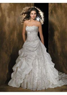 Rich Taffeta Strapless Ball Gown Chapel Train Wedding Dresses