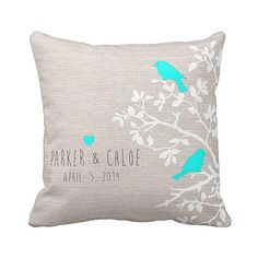 Personalized LOVE BIRDS Wedding Pillow Cotton by JolieMarche, $35.00  change to red birds and heart