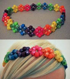 Inspiration for a rainbow flower crochet headband, using the pattern I have for mollie flowers