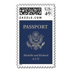 Passport Wedding Postage Stamp