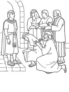 A black-and-white illustration of some of the brothers of Joseph of Egypt, kneeling and begging for forgiveness.