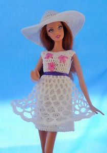 Hand Crochet OOAK White Embroidered Dress Hat Barbie Doll Clothes | eBay