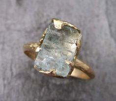 Raw Uncut Aquamarine Ring Solid 14K Gold Ring wedding engagement Rough Gemstone Ring Statement Ring Stacking Ring Cocktail Ring