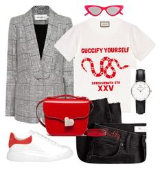 """""""Pop os red"""" by theradiantcherie on Polyvore featuring self-portrait, Le Specs, Gucci, Madewell, Daniel Wellington, Marni, Alexander McQueen, red and spring2018"""