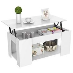 Yaheetech Adjustable Lift Top Coffee Table With Hidden Storage