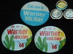 VINTAGE BUTTON BADGE PIN LOT WARNER HOLIDAY CAMP 1968 ENGLISH SEASIDE RESORT OLD | eBay