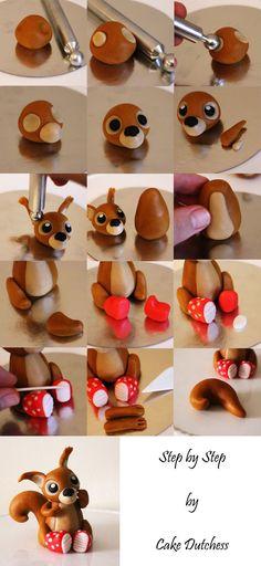 DIY Fondant Squirrel Tutorial by Cake Dutchess (Can also do with clay! Cake Dutchess, Fondant Toppers, Fondant Cakes, Cupcake Cakes, Cupcake Toppers, Rose Cupcake, Fondant Figures, Sugar Paste, Gum Paste