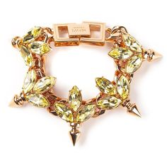 MAWI crystal leaf ID bracelet ($615) found on Polyvore