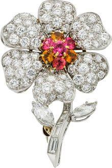 Estate Jewelry:Brooches - Pins, Diamond, Spinel, Garnet, Platinum, White Gold Brooch. ...