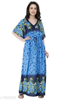 Nightdress Fomti Satin Night Wear Kaftaans for Women's Fabric: Satin Sleeve Length: Short Sleeves Pattern: Printed Multipack: 1 Sizes: Free Size (Bust Size: 44 in Length Size: 60 in)  Country of Origin: India Sizes Available: Free Size, L, XL, XXL   Catalog Rating: ★4.2 (5483)  Catalog Name: Inaaya Alluring Women Nightdresses CatalogID_1298722 C76-SC1044 Code: 182-7900859-998