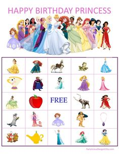 Disney Princess Bingo Inspired Instant by Princess Bingo, Princess Birthday Party Games, Disney Princess Games, Disney Princess Party, Disney Birthday, Frozen Birthday Party, 3rd Birthday, Kitty Party Games, Princesas Disney