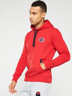 Champion C Logo Overhead Hoodie - Red, Red, Size Trouser Jeans, Trouser Suits, Trousers, Hooded Jacket, Suit Jacket, Vintage Sportswear, Formal Shirts, Basic Style, Red Hoodie
