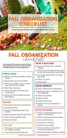 When fall comes along that means there is lots of outdoor (and a little indoor) preparation to make sure your home and yard are ready for the upcoming winter season. I love to use the Fall Organization Checklist to make sure I have taken care of all my winter prep needs. #fallorganization #fallcleaning #fallcleaningchecklist  Lauren B Montana Home Maintenance Checklist, Yard Maintenance, Organizing Your Home, Home Organization, Organizing Ideas, Household Organization, Fall Checklist, Fall Cleaning Checklist, Chore Checklist