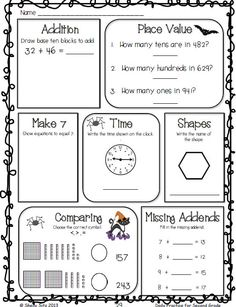 Common Core Math and Language Arts Daily Practice for Second Grade (October) Daily Math, Daily 3, 3rd Grade Math Worksheets, Math Pages, Math Sheets, Math Words, 2nd Grade Classroom, Second Grade Math, Common Core Math