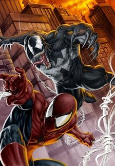 Spiderman vs Venom Colors by on DeviantArt Marvel Venom, Marvel Vs, Marvel Dc Comics, Marvel Heroes, Anime Comics, Mysterio Marvel, Storm Marvel, Deadpool Wolverine, Comics Spiderman