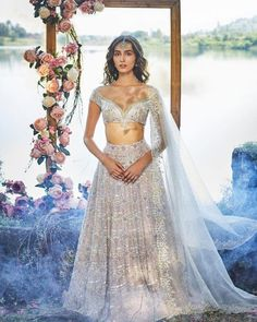 never fails to impress with her beautiful pieces! We can't imagine the countless hours that have been put into this lehenga! Designer Bridal Lehenga, Bridal Lehenga Choli, Lehenga Wedding, Wedding Dress, Lehenga Blouse, Indian Attire, Indian Ethnic Wear, Dress Indian Style, Indian Dresses