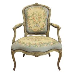 French Single Louis XV Fauteuil or arm chair  France  1780-1800.