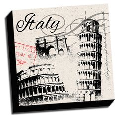 Italy Inspired 16x16 Design Art Printed on Ready to Hang Framed Stretched Canvas