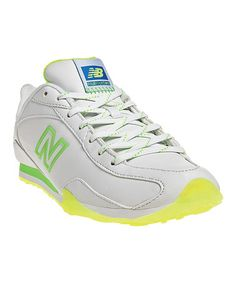 Take a look at this White & Neon Green 442 Sneaker - Women by New Balance on #zulily today!