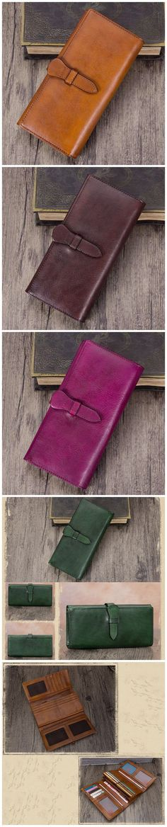 Full Grain Leather Wallet For Women Handmade Leather Purse Vintage Long Wallet A03232 Full Grain Leather Wallet, Handmade Leather Wallet, Leather Wallets, Leather Purses, Green And Purple, Pink And Green, Brown Coffee, Long Wallet, Christmas Shopping